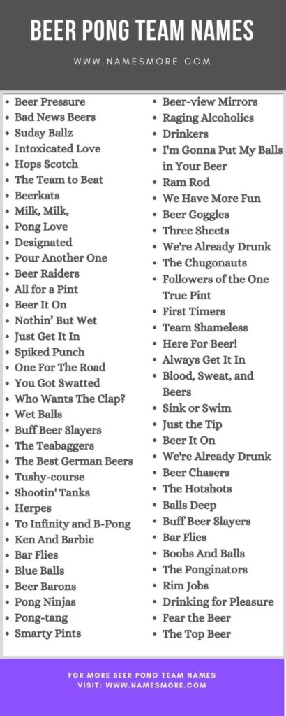 Beer Pong Team Names infographic