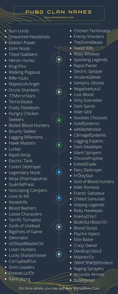PUBG Clan Names Infographic