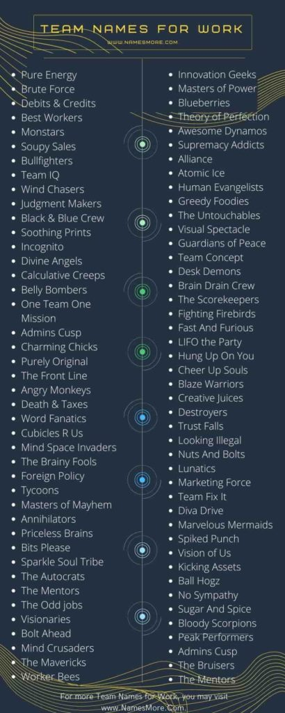 Team Names for Work Infographic
