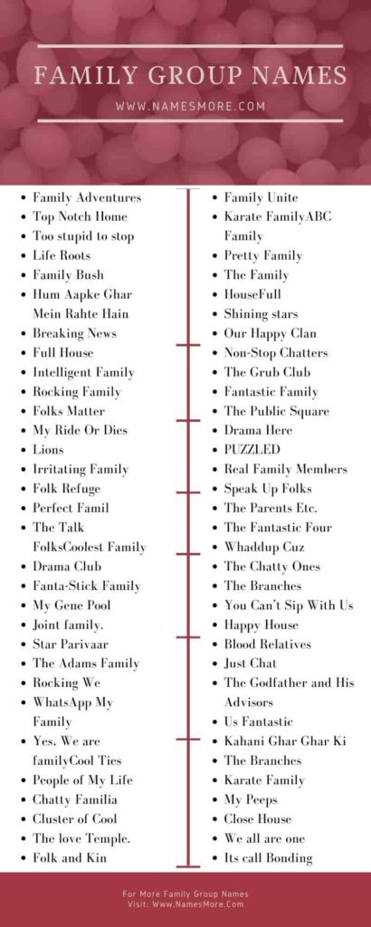 Family Group Names Infographic