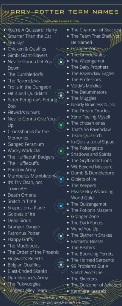 Harry Potter Team Names Infographic