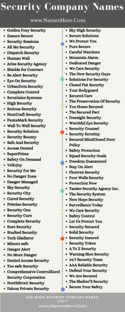 Security Company Names Infographic